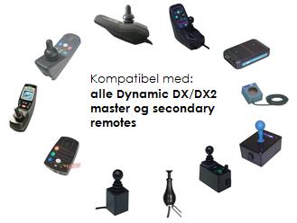 Kompatibel med alle Dynamic DX/DX2 Master og Secondary Remotes